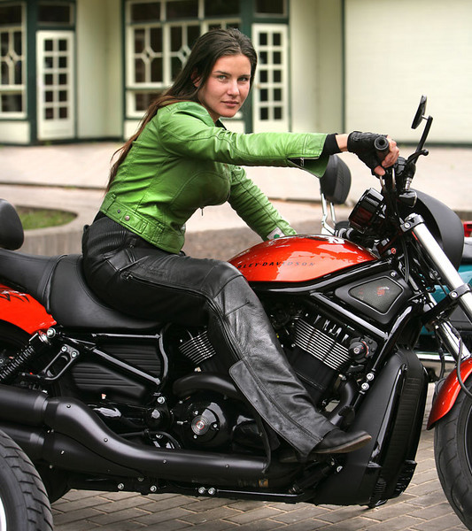 Girl and V-ROD.