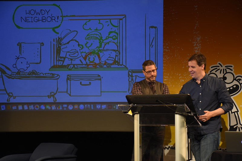 Jeff Kinney, author of the Wimpy Kid Series, at the live webcast and interview for kids during the cover reveal of his new book, Diary of a Wimpy Kid Double Down, on April 28, 2016, in New York City.
