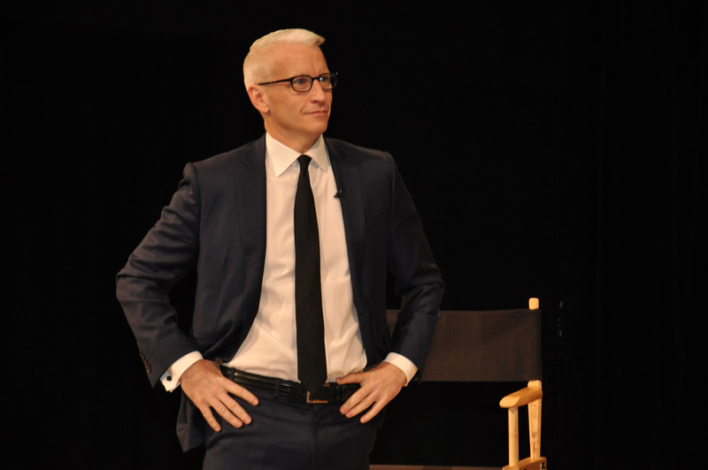 Anderson Cooper hosts Scholastic's Dinosaur13 live web cast at Scholastic in New York, on December 5, 2014. <br /> Photo by: Cynthia Carris for Scholastic, Inc.