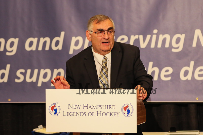 NH Legends 2016 Hockey Inductee Coach Gary Bishop speaks at the 2016 NH Legends of Hockey Hall of Fame Induction Ceremony on Sunday October 23, 2016 @ Grappone Center, Concord, NH.  Matt Parker Photos