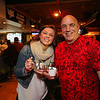 """Naomi Amazeen of Exeter and Matt McSheehy of the Reading FD pose for a photo as Naomi samples the, """"Reading Hot Chili Peppers"""" chili at the Hampton Fire Fighter Toy Bank and Chili Cook-off Fundraiser on Thursday 11-17-2016 @ Wally's Pub, Hampton Beach, NH.  Matt Parker Photos"""