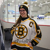 A Bruins Alumni fan poses for a photo while sporting her new Bruins Gear at the Richie McFarland Children's Center Charity Hockey event between the Boston Bruins Alumni vs Team Richie on Saturday 12-17-2016 @ The Rinks at Exeter.  Matt Parker Photos