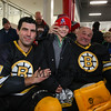 "Cole Kelley of Brentwood gets, ""The Claw"" from Bruins Alumni Goal Keeper #35 Cleon Daskalakis with #27 Mike Mottau and during half-time at the Richie McFarland Children's Center Charity Hockey event between the Boston Bruins Alumni vs Team Richie on Saturday 12-17-2016 @ The Rinks at Exeter.  Matt Parker Photos"