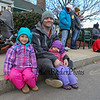 Justin Wilcox with his 2 daughters Alexa 5 (L) and Kylan 3 waiting for the parade to start at the 2016 Experience Hampton Christmas Parade on Saturday 12-3-2016, Rt. 1 Hampton, NH.  Matt Parker Photos