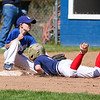 Braves runner #9 JT Williams makes it safely back to 2nd as Dodgers #9 Nolan Gray tries to make a tag during the Rye Little League Opening Day 2016 celebration on Saturday 5-14-2016 @ Flash Jenness Memorial Little League Park, Rye, NH.  Matt Parker Photos