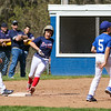 Braves runner #9 JT Williams rounds 2nd base with Dodgers #9 Nolan Gray during the Rye Little League Opening Day 2016 celebration on Saturday 5-14-2016 @ Flash Jenness Memorial Little League Park, Rye, NH.  Matt Parker Photos