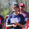 Jackie Sexton thanks the Rye community for honoring her late husband John during the Rye Little League Opening Day 2016 celebration where the Scoring Booth was named after him on Saturday 5-14-2016 @ Flash Jenness Memorial Little League Park, Rye, NH.  Matt Parker Photos