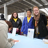 Carley Berman, Selina Ni and Maddie Mullen representing the National Honor Society of Portsmouth High School sell Raffel Tickets to raise money for the Beyond the Raonbow Fund at the Kites Against Cancer benefit on a windy Sunday 5-15-2015 @ Hampton Beach Seashell stage, Hampton Beach, NH.  Matt Parker Photos
