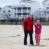 Ann Parnell with Granddaugher Eliza Paradis of Stratham keep their eyes on their kite at Sunday's Kites Against Cancer benefit for Exeter Hospital's Beyond the Rainbow Fund at a windy Hampton Beach on 5-15-2016.  Matt Parker Photos