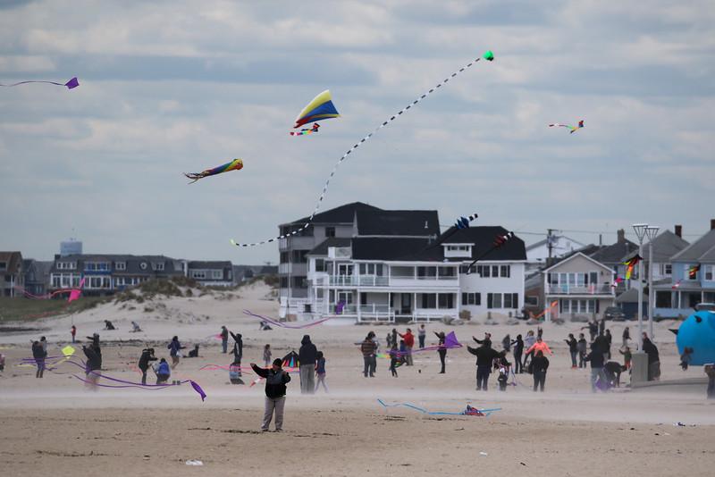 Kites Against Cancer benefit for Exeter Hospital's Beyond the Rainbow Fund on a windy Sunday 5-15-2015 @ Hampton Beach Seashell stage, Hampton Beach, NH.  Matt Parker Photos