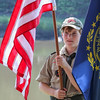 Scout Christian Wilhelm holds the American Flag at the Newfields Landing at the Newfields Memorial Day Parade and Picnic honoring Veterans for their service to our country on Saturday 5-28-2016, Newfields, NH.  Matt Parker Photos