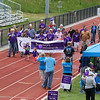 Cancer survivor 6 year old Lily Hamel (with flowers) of Newmarket, NH, leads the opening Cancer Survivor Lap at the American Cancer Society of New Hampshire 2016 Seacoast Relay for Life Cancer walk on Saturday 6-11-2016 @ Winnacunnet High School.  Matt Parker Photos
