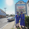 """Jack Haraden and Cole Parker pose for a photo under the Tobey & Merrill sign where the congratulating message, """"Congrats Cole Parker and the WHS Class of 2016"""" was on display prior to the Winnacunnet Class of 2016 Graduation Cermony on Friday 6-17-2016 @ WHS.  Matt Parker Photos"""