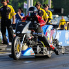 Jay Turner accelerates his Top Fuel Harley off the starting line but lost traction right at the green and shut down finishing with a time of 10.749 seconds and a speed of 89.47 during Friday's racing at the NHRA New England Nationals on 6-3-2016 @ New England Dragway, Epping, NH.  Matt Parker Photos