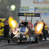 Leah Pritchett and her Fire Ade/Nitro Ninja Top Fuel Dragster accelerates off the starting line in the Qualifying Round 2 completing the run with a time of 3.819 seconds and a speed of 320.20 during Friday's racing at the NHRA New England Nationals on 6-3-2016 @ New England Dragway, Epping, NH.  Matt Parker Photos