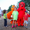 """Makenna Babineau (center) with brother Myles and 4th Grader Tiffany McCreary all of Hampton with Clifford, """"The Big Red Dog"""" and Nemo at the Lane Memorial Library Summer Reading Finale Party on Tuesday @ Centre School, Hampton, NH 8-2-2016.  Matt Parker Photos"""