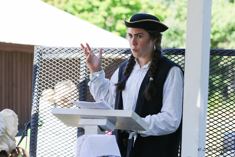 Sophia Hughes of Exeter High School plays the moderator in the reinactment of Stratham's 1st town meeting on March 20th 1716 at Stratham's 300th Anniversary Parade held on Sunday, 9-25-2016, Stratham Town Center-RT 33.  Matt Parker Photos
