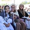 3rd grader Alana Hutton, 4th grader Eleanor Currier and 8th grader Lydia Hughes pose for a photo on the 1st town meeting float at the Stratham's 300th Anniversary Parade held on Sunday, 9-25-2016, Stratham Town Center-RT 33.  Matt Parker Photos