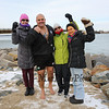 Chucky Rosa poses for a photo with supporters Kay Kuzminski (pink hat), Sylvia Kuzminski (green jacket) and Lisa Parker (R) at the 2016 Chucky's Fight Freezin' For a Reason New Years Eve Dip on Saturday 12-31-2016 @ Seabrook Beach, NH.  Matt Parker Photos