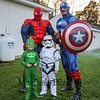 Carter Mattison and Brayden Benoit pose with Hampton's very own Spiderman and Captain America at the Halloween in Hampton event sponsored by the Hampton Rec. Department on Friday October 27th at Tuck Field, Hampton, NH.  Matt Parker Photos