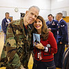 WWII Marines Veteran Warren White pose for a photo with Marson Principal Lois Costa at the Marston School Veterans Day ceremony on Thursday 11-9-2017 @ Marston School, Hampton, NH.  Matt Parker Photos