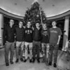 John Rooney, Cam Charette, Travis Arsenault, Cam Leno, Braxton Zilkowski and Devan Sack of the Winnacunnet Warriors pose for a photo at the 2017 Annual Christmas Tree Lighting at the Gazebo at Marelli Square sponsored by the Hampton Parks & Recreation Department on Friday Night, Hampton, NH, 12-1-2016.  Matt Parker Photos