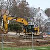 Yellow Cat excavator at the Hampton Academy construction on 12-2-2017 Hampton, NH.  Matt Parker Photos