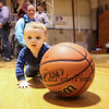 9 month old Grayson Hopley scrambles for a loose ball at Saturday's 2017 Dana Farber Marathon Challenge 3-on-3 Basketball fundraising tournament at Portsmouth High School on 2-4-2017.  Matt Parker Photos