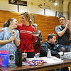 Dana Farber volunteer Program organizer Kristen Underwood acknowledges cancer survivor Lindsay McAlpine at Saturday's 2017 Dana Farber Marathon Challenge 3-on-3 Basketball fundraising tournament at Portsmouth High School on 2-4-2017.  Matt Parker Photos