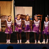 "(L to R) Diane an athletic student (played by Kendall Leuven) with cheerleaders Andrea Georges, Anna Murray, Sarah Peirson, Eva Sanborn, Emeri Jacobws and Julia Statham on stage during a scene from the play, ""Just For Kicks"" by Patrick M. Cleeper's as performed by the The Hampton Academy Players on Friday 3-17-2017 @ Hampton Academy.  Matt Parker Photos"