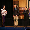 "Josephine a band student (played by Allison Hoffmeier) talks with Principal (played by Tyler Hughes) and Caroline Acheson the Principal's Secretary (played by Madison Gakopoulos) during a scene from the play, ""Just For Kicks"" by Patrick M. Cleeper's as performed by the The Hampton Academy Players on Friday 3-17-2017 @ Hampton Academy.  Matt Parker Photos"