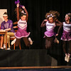 "The High School Cheerleaders put on a show with (front row L to R) school mascot Darby the Squirrel (played by Riley Wall), cheerleaders Terry (played by Emeri Jacobs), Becky (played by Sarah Peirson) and Kelly (played by Julia Statham) with English Teacher and Head Football Coach Janet Talber (played by Riley Demotses) talking with Sue who is an expert on football (played by Chloe Rummler) during a scene from the play, ""Just For Kicks"" by Patrick M. Cleeper's as performed by the The Hampton Academy Players on Friday 3-17-2017 @ Hampton Academy.  Matt Parker Photos"