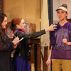 "English Teacher and Head Football Coach Janet Talber (played by Riley Demotses) is interviewed by newspaper reporters Jen (played by Cyrena Flaherty) (L) and Barbara (played by Emily Currie) during a scene from the play, ""Just For Kicks"" by Patrick M. Cleeper's as performed by the The Hampton Academy Players on Friday 3-17-2017 @ Hampton Academy.  Matt Parker Photos"