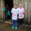 "Madison Vigeant (L) and Kayleigh Fuller with their Maple Sugar Shirts pose for a photo at the Lincoln Akerman School 4th grade ""Sugaring-Off"" Maple Syrup Party on Saturday 3-25-2017 @ Hampton Falls, NH.  Matt Parker Photos"