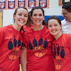 Stratham Memorial  School teachers (L to R) Samantha Loh (5th Grade), Shannon DeLello (5th) and Tiffan Locke (PE) pose for a photo after the faculty win at the 5th Grade vs Faculty Basketball Game on Thursday 3-9-2017 @ SMS, Stratham, NH.  Matt Parker Photos