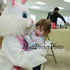 2-1/2 year old Peyton Suttner gets a hug from the Easter Bunny at the Brentwood Recreation Department Egg Hunt and Easter Bunny Breakfast on Saturday 4-15-2017, Brentwood, NH.  Matt Parker Photos
