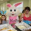 Sydney Hill (R) helping the Easter Bunny with a plate of pancakes and sausage at the The Easter Bunny getting help with Brentwood Recreation Department Egg Hunt and Easter Bunny Breakfast on Saturday 4-15-2017, Brentwood, NH.  Matt Parker Photos