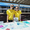 Oyster River HS freshman Sophia Vasapolli with North Hampton 7th grader Olvia Myers volunteering at the kite decorating table at the Kites Against Cancer to benefit The Beyond the Rainbow Fund of Exeter Hospital on Sunday at the Seashell Stage, Hampton Beach on 5-21-2017.  Matt Parker Photos