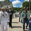 Chaplain Petty Officer Jose Moreno, left, marches in the parade and earlier read a prayer at the Squamscott River landing where a wreath was placed honoring the vetrans at the Newfields Memorial Day ceremony and parade on Saturday 5-27-2017.  Amy Sununu and Natalie Fream Photos