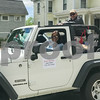 2017 Grand Marshal Jack Shaw Captain, US Air Force riding in a white Jeep driven by Leslie Jensen at the Newfields Memorial Day ceremony and parade on Saturday 5-27-2017.  Amy Sununu and Natalie Fream Photos