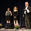 "Seacoast Idol Director/Producer ""Sandy"" Martin introduces Justine Blanchet (middle) and Morgane Vigroux who sang the Canadian and United States National Anthems at the 2017 Seacoast Idol @ Exeter Town Hall, Exeter, NH on 5-7-2017.  Matt Parker Photos"