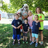 """Mike Brown as """"Blaze"""" poses for a phto with a group of supporters at the Beach Fire Department Annual Parade and Muster on Sunday 6-25-2017, York Beach, ME.  Matt Parker Photos"""