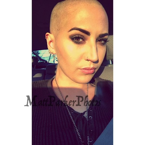 Katie Stamas of Tyngsborough, MA on October 2017 with her new hair cut, she shaved her hair for cancer research.  Courtesy Photo