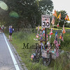 Bike with flags at the 2017 40th Annual Saunders at Rye Harbor 10k road race to benefit the New Hampshire SPCA on Thursday 8-17-2017, Rye, NH.  Matt Parker Photos