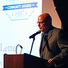 """Paul """"Buzz"""" Dietterle, Editor of the Exeter Newsletter accepts the Busineess of the year award for Business Services at the 2017 Exeter Area Chamber of Commerce Community Awards on Thursday at the Blue Ocean Event Center, Salisbury Beach, MA on August, 24, 2017.  Matt Parker Photos"""
