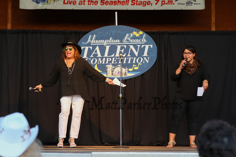 Masters of Ceremony Angela West of West Enterprises and Catherine Leonard at the 13th Anniversary of the Hampton Beach Talent Competition 2017, presented by The Hampton Beach Village District on Sunday 8-27-2017 @ The Seashell Stage, Hampton Beach, NH.  Matt Parker Photos