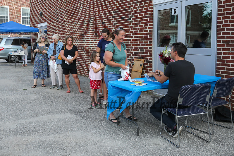 """A waiting line for book signings by Author Jarrett J. Krosoczka' and his book series """"Jedi Academy"""" at the Lane Library Summer Reading Finale party and celebration on Thursday 8-3-2017 @ Centre School, Hampton, NH.  Matt Parker Photos"""