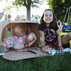 5th graders Emily Goupil (L) and Alina Hardiman play in a fabricated playhouse at the Lane Library Summer Reading Finale party and celebration on Thursday 8-3-2017 @ Centre School, Hampton, NH.  Matt Parker Photos