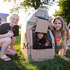 5th graders (L to R) Skyla Mace,  Alina Hardiman and Emily Goupil play in a fabricated playhouse at the Lane Library Summer Reading Finale party and celebration on Thursday 8-3-2017 @ Centre School, Hampton, NH.  Matt Parker Photos