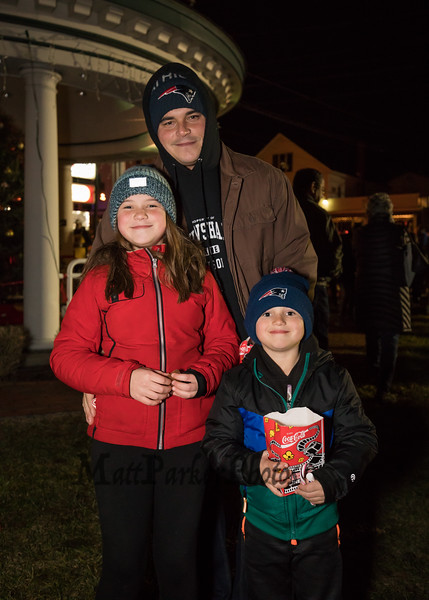 Corey Roy of Hampton with his daughter Kaila (5th grade) and son Noah (kindergartner) at the 2018 Annual Christmas Tree Lighting at the Gazebo at Marelli Square sponsored by the Hampton Parks & Recreation Department on Friday Night, Hampton, NH, 11-30-2018.  Matt Parker Photos